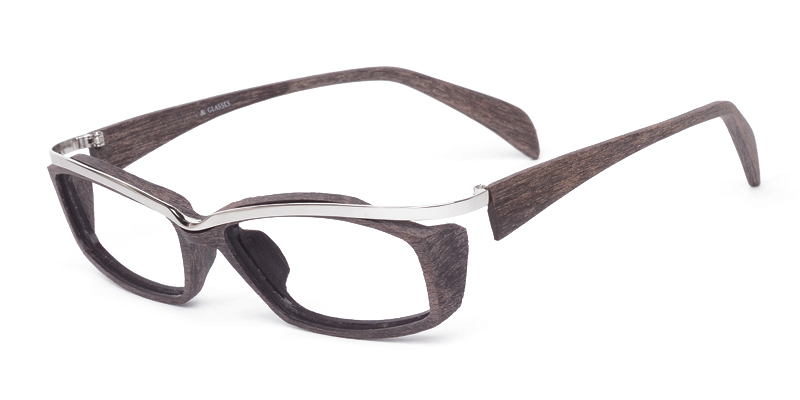 mens full rim mixed material eyeglasses with real wood and metal omj5817 firmoocom - Wood Frame Eyeglasses