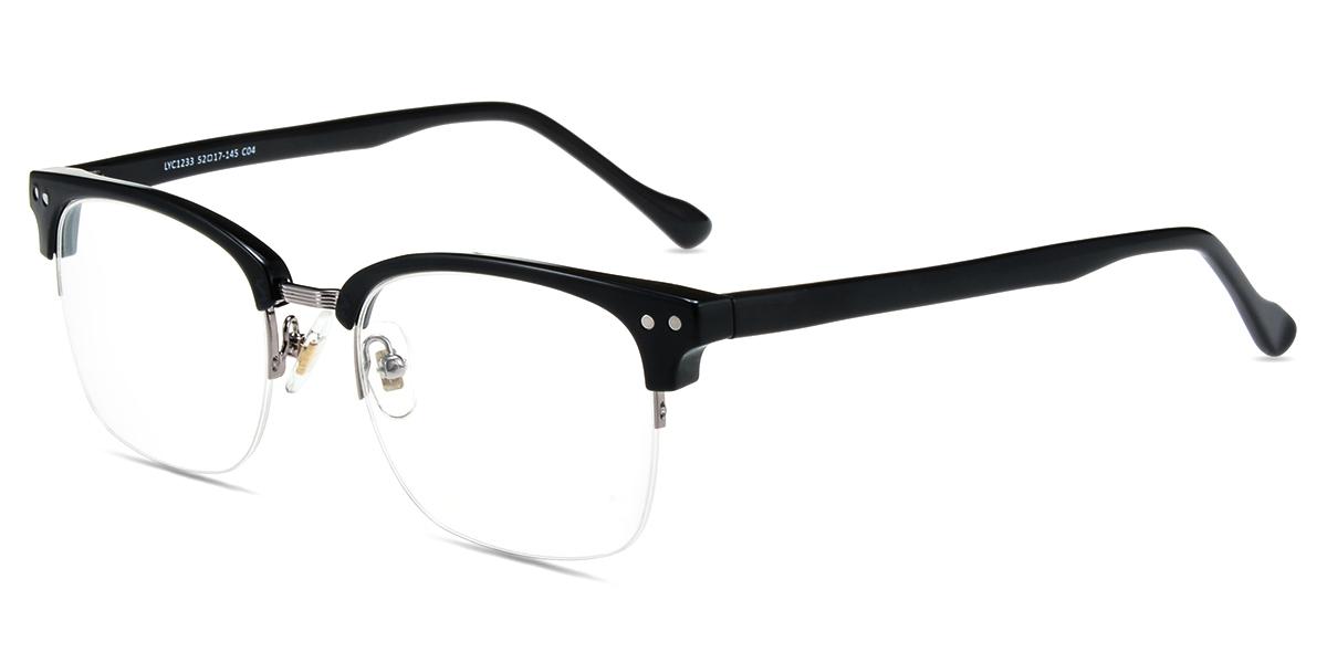 0a46c4aea7 Unisex semi-rimless mixed material eyeglasses